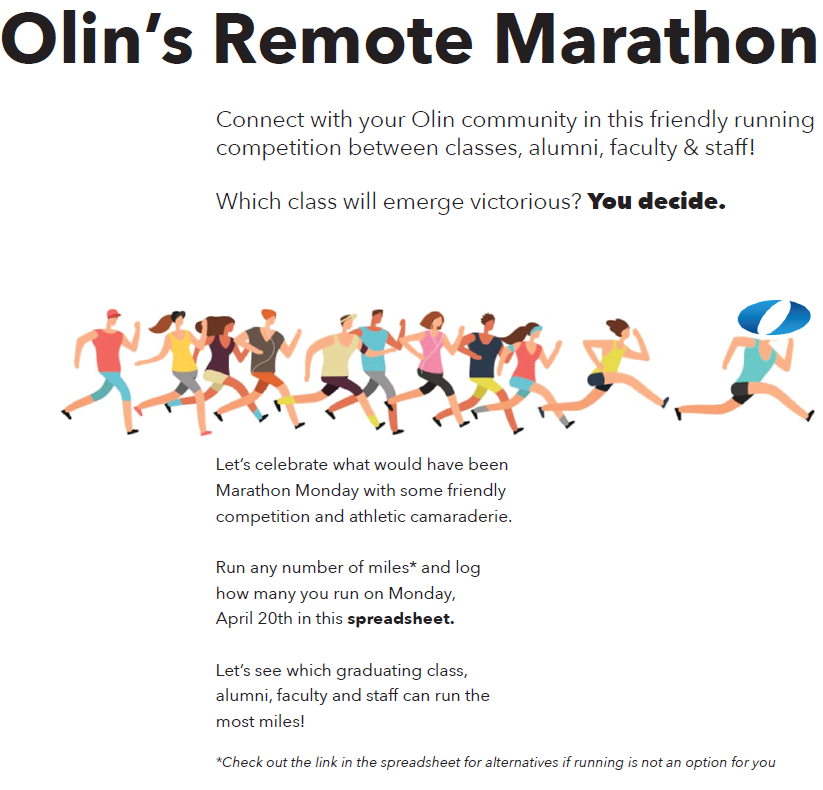 A poster advertising Olin's Remote Marathon.